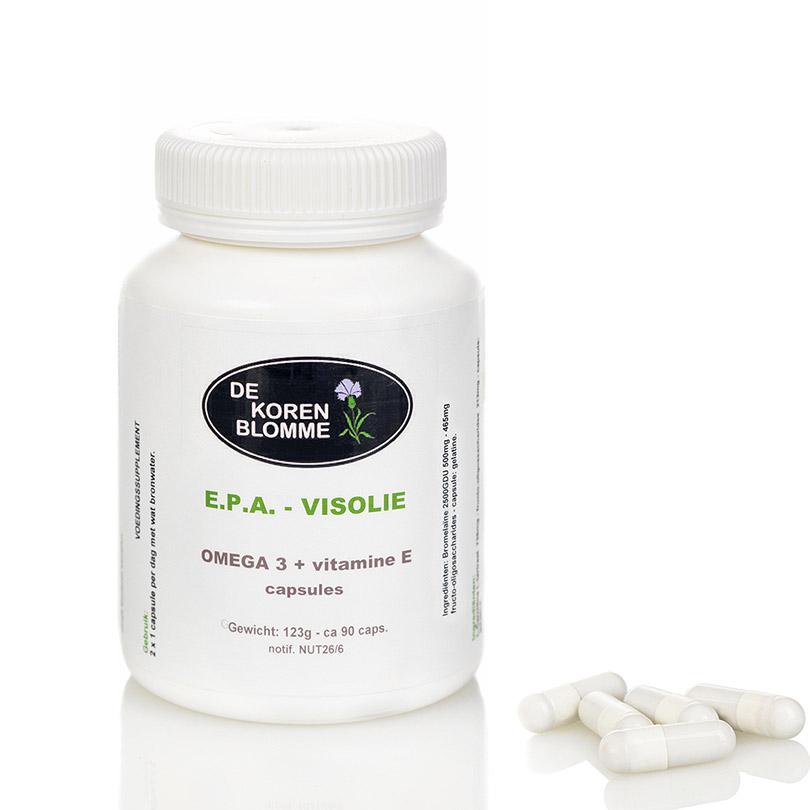 EPA visolie + vit E De Korenblomme - 90 capsules -